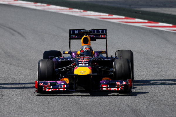 Circuit de Catalunya, Barcelona, Spain 12th May 2013 Sebastian Vettel, Red Bull RB9 Renault.  World Copyright: Glenn Dunbar/LAT Photographic ref: Digital Image _89P6174