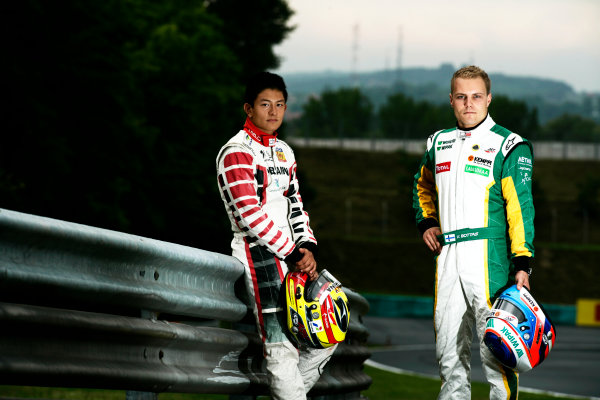 Round 6. Hungaroring, Budapest, Hungary, 28th July 2011.Thursday Preview. Rio Haryanto, (INA, Marussia Manor Racing) and Valtteri Bottas, (FIN, Lotus ART) winners of races 9 and 10 at round five at the Nurburgring, Germany. Portrait. Photo: Drew Gibson/GP3 Media Service. ref: Digital Image _Y2Z6629