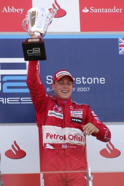 2007 GP2 Series Round 5. Silverstone, England. 8th July 2007. Sunday Race.Adam Carroll (GBR, Petrol Ofisi FMS International) celebrates victory. World Copyright: Alastair Staley/GP2 Series Media Service.ref: Digital Image IMG_2494