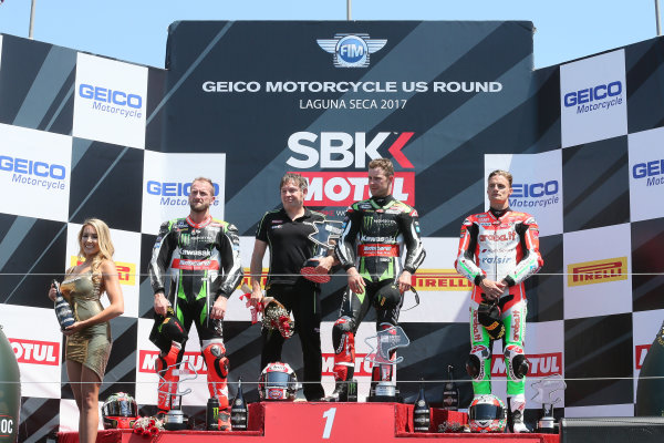 2017 Superbike World Championship - Round 8 Laguna Seca, USA. Sunday 9 July 2017 Podium: winner Jonathan Rea, Kawasaki Racing, second place Tom Sykes, Kawasaki Racing, third place Chaz Davies, Ducati Team World Copyright: Gold and Goose/LAT Images ref: Digital Image 683404