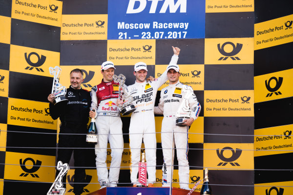 2017 DTM Round 5 Moscow Raceway, Moscow, Russia Sunday 23 July 2017. Podium: Race winner Maro Engel, Mercedes-AMG Team HWA, Mercedes-AMG C63 DTM, second place Mattias Ekström, Audi Sport Team Abt Sportsline, Audi A5 DTM, third place Bruno Spengler, BMW Team RBM, BMW M4 DTM World Copyright: Evgeniy Safronov/LAT Images ref: Digital Image SafronovEvgeniy_2017_DTM_MRW_SanFast-22