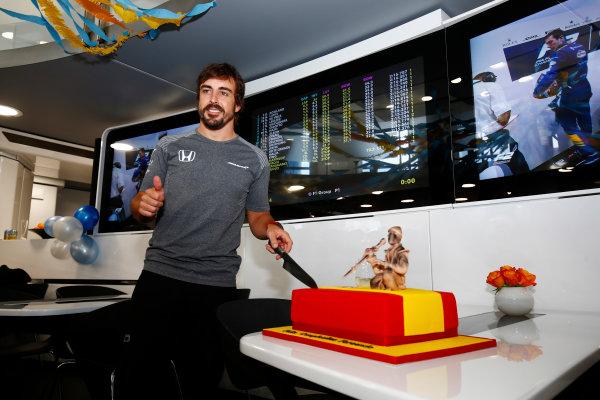 Hungaroring, Budapest, Hungary.  Saturday 29 July 2017. Fernando Alonso, McLaren, celebrates his birthday. World Copyright: Andy Hone/LAT Images  ref: Digital Image _ONZ9926