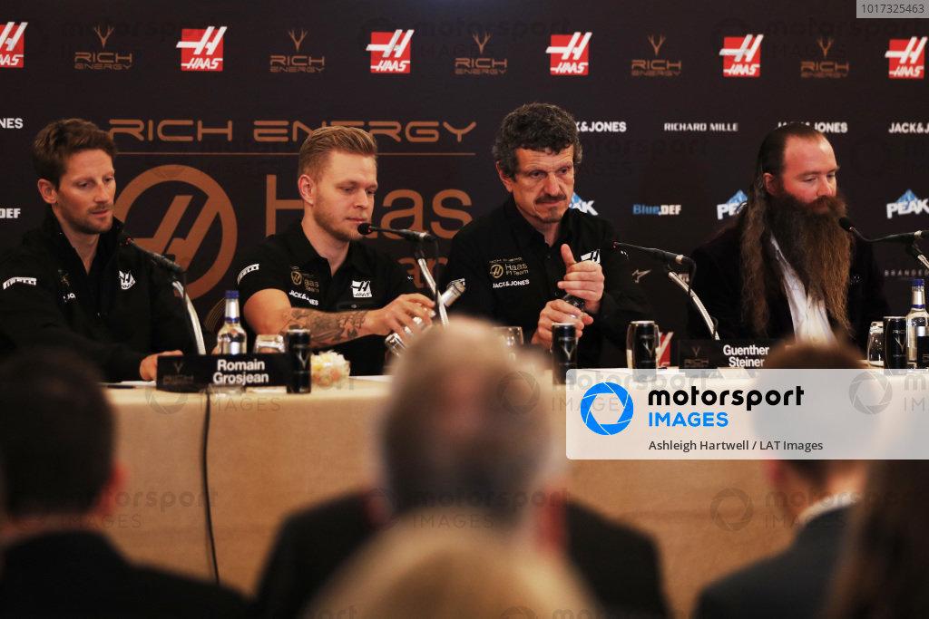 Romain Grosjean, Haas F1 Team, Kevin Magnussen, Haas F1 Team, Guenther Steiner, Team Principal, Haas F1 and William Storey, CEO Rich Energy