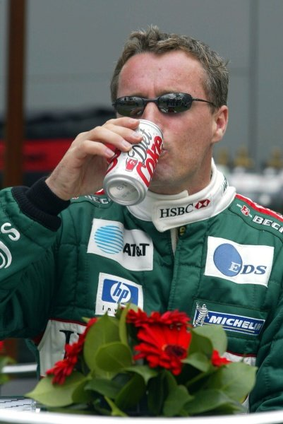 Eddie Irvine (GBR) Jaguar sticks to the Diet Coca-Cola.Australian Grand Prix, Albert Park, Melbourne, 28 February 2002DIGITAL IMAGE
