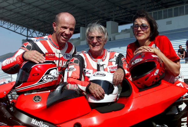 2001 Motorbike 500cc ChapionshipEstoril, Portugal. 8th September 2001.Bernie Ecclestone gets the ride of his life at the Portuguese MotoGP on Saturday 8th Sept 2001. Ridden on Yamaha's 2 seater YZR 500 GP bike by 13 times GP winner Randy Mamola, here with wife Silvica.World Copyright: Golden Goose. ref: Digital Image Only