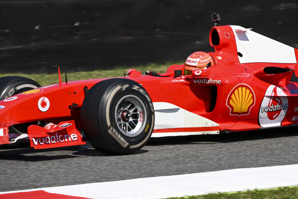 Mick Schumacher drives his father's championship winning Ferrari F2004 on a demo run celebrating ferrari's 1000th Grand Prix