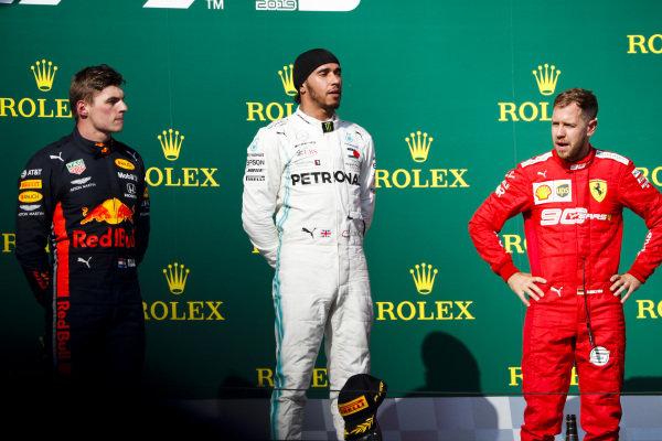 Max Verstappen, Red Bull Racing, Race winner Lewis Hamilton, Mercedes AMG F1 and Sebastian Vettel, Ferrari on the podium