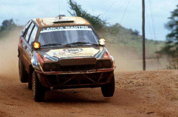 Safari Rally, Kenya. 27 March-1 April 1991.Juha Kankkunen/Juha Piironen (Lancia Delta Integrale 16V), 1st position, action.World Copyright: LAT Photographic.Ref: 35mm transparency 91RALLY04