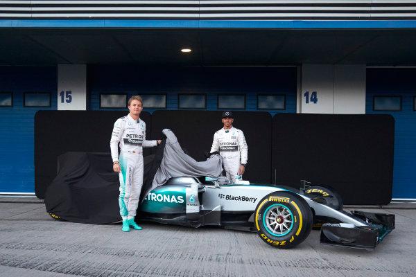 2015 F1 Pre Season Test 1 - Day 1 Circuito de Jerez, Jerez, Spain. Sunday 1 February 2015. Nico Rosberg, Mercedes AMG, and Lewis Hamilton, Mercedes AMG, launch the Mercedes W06. World Copyright: Steve Etherington/LAT Photographic. ref: Digital Image SNE26135