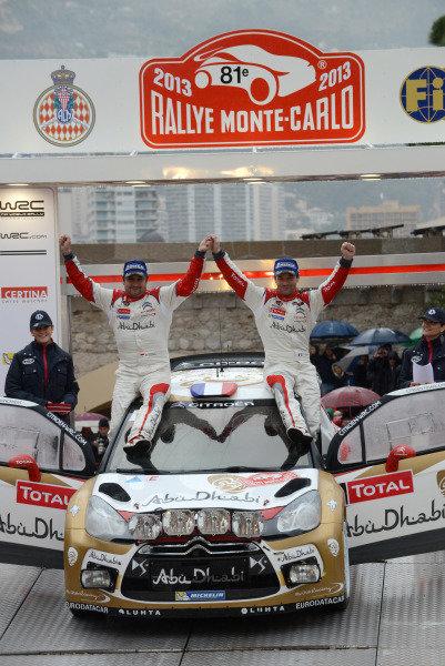Rally winners Sebastien Loeb (FRA) and Daniel Elena (MC), Citroen DS3 WRC on the podium. FIA World Rally Championship, Rd1, Rally Monte- Carlo, Day Five, Monte-Carlo, Monaco, 20 January 2013.