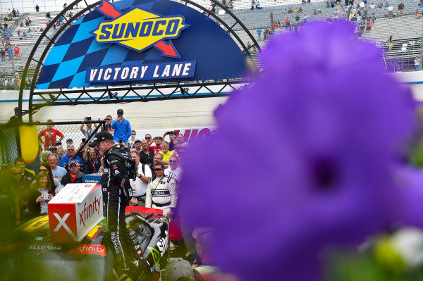 #7: Justin Allgaier, JR Motorsports, Chevrolet Camaro SiteOne Landscape Supply celebrates his win in Victory Lane