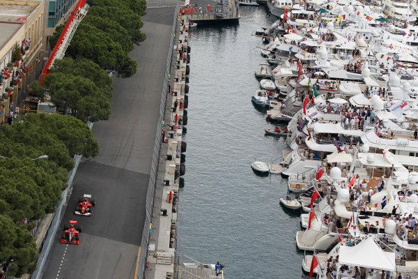 Monte Carlo, Monaco16th May 2010Lucas di Grassi, Virgin VR-01 Cosworth, retired, leads Fernando Alonso, Ferrari F10, 7th position. Action. World Copyright: Steven Tee/LAT Photographicref: Digital Image _A8C1480