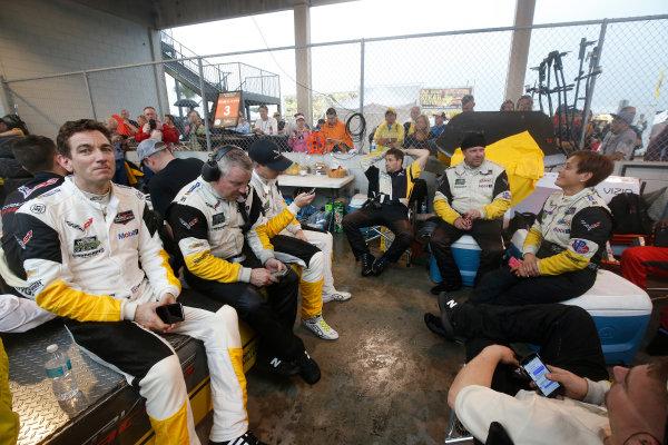 16-19 March, 2016, Sebring, Florida, USA , 4, Chevrolet, Corvette C7, GTLM, Oliver Gavin, wait in the rain ?2016, Michael L. Levitt LAT Photo USA