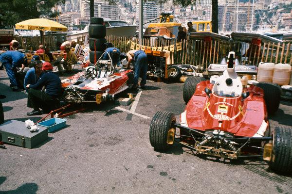 1975 Monaco Grand Prix  Monte Carlo, Monaco. 8-11th May 1975.  Ferrari 312Ts in the paddock.  Ref: 75MON10. World copyright: LAT Photographic