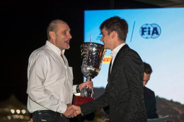 2017 Awards Evening. Yas Marina Circuit, Abu Dhabi, United Arab Emirates. Sunday 26 November 2017. Charles Leclerc (MCO, PREMA Racing).  Photo: Zak Mauger/FIA Formula 2/GP3 Series. ref: Digital Image _56I3902