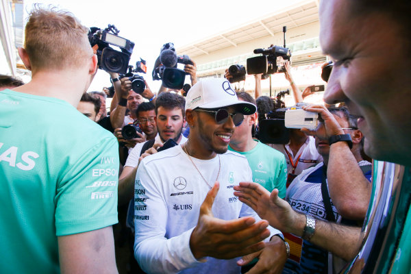 Circuit de Catalunya, Barcelona, Spain. Sunday 14 May 2017. Lewis Hamilton, Mercedes AMG, 1st Position, celebrates victory with his team. World Copyright: Charles Coates/LAT Images ref: Digital Image DJ5R2057