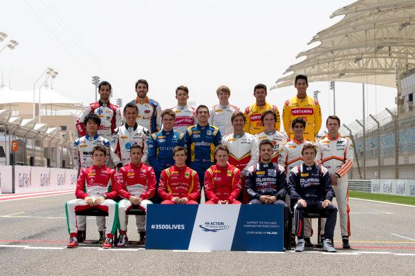 2017 FIA Formula 2 Round 1. Bahrain International Circuit, Sakhir, Bahrain.  Thursday 13 April 2017. Class photo on the grid. Photo: Zak Mauger/FIA Formula 2. ref: Digital Image _56I8926