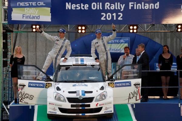 Round 08-Neste Rally Finland 1/8-4/8 2012.Sebastien Ogier, Julien Ingrassia, Skoda S2000, Podium.Worldwide Copyright: McKlein/LAT