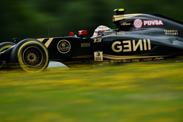 Pastor Maldonado (VEN) Lotus E23 Hybrid at Formula One World Championship, Rd8, Austrian Grand Prix, Practice, Spielberg, Austria, Friday 19 June 2015.