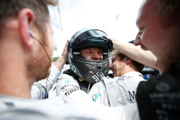 Red Bull Ring, Spielberg, Austria. Sunday 22 June 2014. Nico Rosberg, Mercedes AMG, 1st Position, celebrates on arrival in Parc Ferme. World Copyright: Glenn Dunbar/LAT Photographic. ref: Digital Image _89P8474