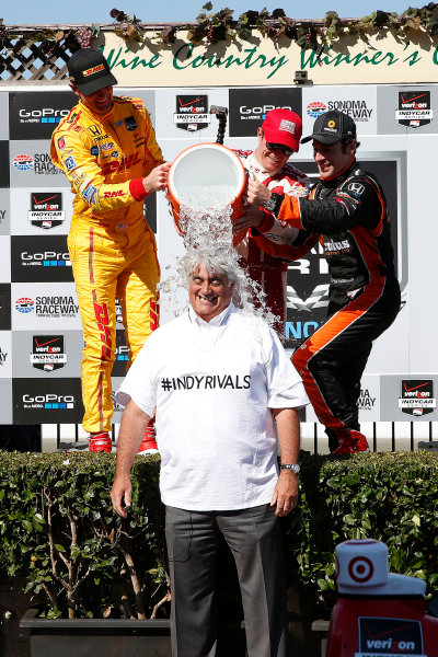23-24 August, 2014, Sonoma, California USA IndyCar CEO Marc Miles takes the ALS ice bucket challenge ©2014, Michael L. Levitt LAT Photo USA