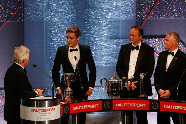 2014 Autosport Awards. Grosvenor House Hotel, Park Lane, London. Sunday 7 December 2014. George Russell wins the 2014 McLaren AUTOSPORT BRDC Award. World Copyright: Sam Bloxham/LAT Photographic. ref: Digital Image _14P3978