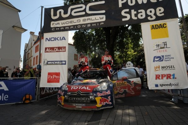 Sebastien Loeb (FRA) and Daniel Elena (MON), Citroen DS3 WRC, celebrate winning the Power Stage, stage 19. World Rally Championship, Rd9, ADAC Rally Deutschland, Trier, Germany. Day Three, Sunday 21 August 2011.