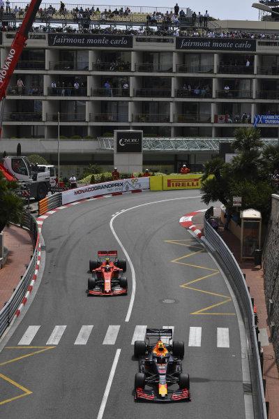 Pierre Gasly, Red Bull Racing RB15, leads Charles Leclerc, Ferrari SF90