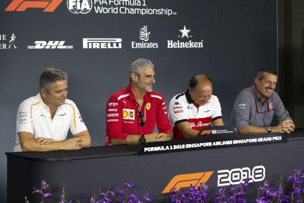 (L to R): Gil de Ferran, Sporting Director, McLaren, Maurizio Arrivabene, Team Principal, Ferrari, Frederic Vasseur, Alfa Romeo Sauber F1 Team, Team Principal, and Guenther Steiner, Team Principal, Haas F1 in the Press Conference