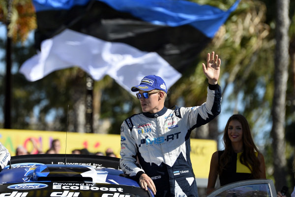 Ott Tanak (EST), M-Sport World Rally Team WRC celebrates on the podium at World Rally Championship, Rd11, RAAC Rally de Espana, Day Three, Costa Daurada, Catalunya, Spain, 8 October 2017.
