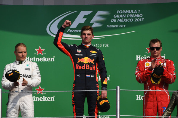 (L to R): Valtteri Bottas (FIN) Mercedes AMG F1, Max Verstappen (NED) Red Bull Racing and Kimi Raikkonen (FIN) Ferrari celebrate on the podium at Formula One World Championship, Rd18, Mexican Grand Prix, Race, Circuit Hermanos Rodriguez, Mexico City, Mexico, Sunday 29 October 2017.