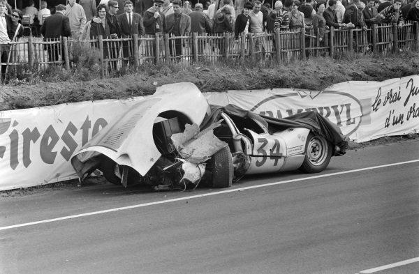 The wreckage of Robert Buchet / Gerhard Koch's Auguste Veuillet, Porsche 906/6 Carrera 6.