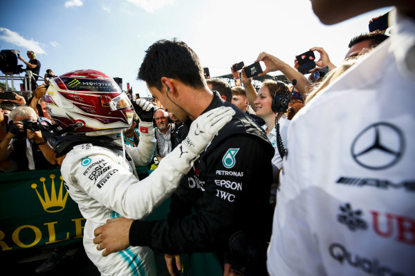 Lewis Hamilton, Mercedes AMG F1, 1st position, celebrates with his team in Parc Ferme