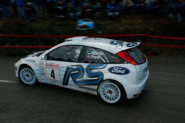 2003 FIA World Rally Championship. Monte Carlo, Monaco. Rd1.23-26 January 2003.Marko Martin/Michael Park (Ford Focus RS WRC '02) 4th position.World Copyright:www.mcklein de/LAT Photographicref: Digital Image