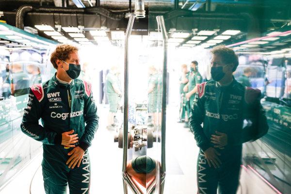 Sebastian Vettel, Aston Martin, in the garage