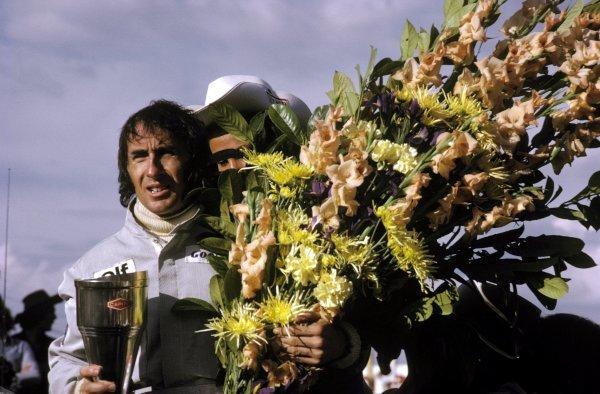 Race winner Jackie Stewart (GBR) Tyrrell celebrates his victory on the podium. Belgian Grand Prix, Zolder, 20 May 1973. BEST IMAGE