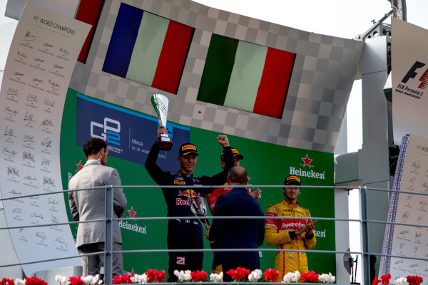 2016 GP2 Series Round 9. Autodromo Nazionale di Monza, Monza, Italy. Sunday 4 September 2016. Pierre Gasly (FRA, PREMA Racing), Norman Nato (FRA, Racing Engineering), Antonio Giovinazzi (ITA, PREMA Racing)  Photo: Zak Mauger/GP2 Series Media Service. ref: Digital Image _L0U6174