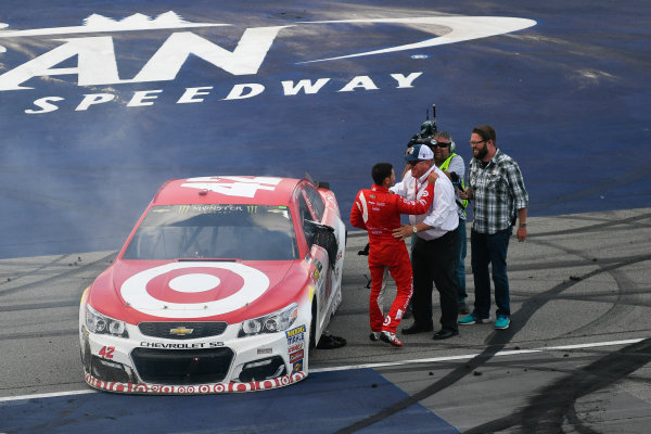 Monster Energy NASCAR Cup Series Pure Michigan 400 Michigan International Speedway, Brooklyn, MI USA Sunday 13 August 2017 Kyle Larson, Chip Ganassi Racing, Target Chevrolet SS and Chip Ganassi celebrate after winning World Copyright: Logan Whitton LAT Images