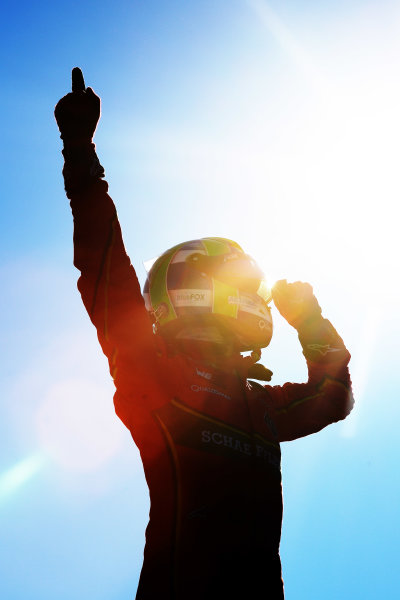 2016/2017 FIA Formula E Championship. Round 11 - Montreal ePrix, Canada Sunday 01 January 2012. Lucas Di Grassi (BRA), ABT Schaeffler Audi Sport, Spark-Abt Sportsline, ABT Schaeffler FE02, celebrates after winning the race. Photo: Patrik Lundin/LAT/Formula E ref: Digital Image PL1_2490