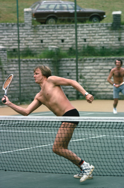 Jacarepagua, Rio de Janeiro, Brazil. 27-29 January 1978. Ronnie Peterson ( Lotus 78-Ford), relaxes by playing tennis before the race, portrait.  World Copyright: LAT Photographic. Ref: 78BRA30