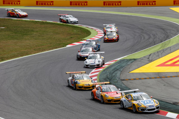 Circuit de Catalunya, Barcelona, Spain. Sunday 10 May 2015. Christian Engelhart, No.14 MRS GT-Racing, leads Philipp Eng, No.17 Market Leader by Project 1, Matteo Cairoli, No.16 Market Leader by Project 1, Robert Lukas, No.19 F?rch Racing by Lukas MS, and Jeffrey Schmidt, No.24 The Heart of Racing by Lechner. World Copyright: Steven Tee/LAT Photographic. ref: Digital Image _L4R9718
