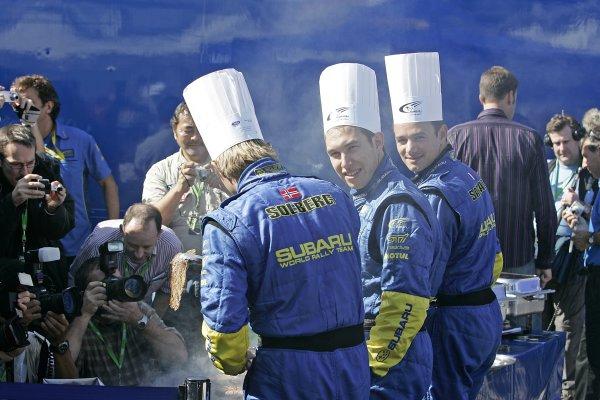 2005 FIA World Rally Champs. Round fourteenRallye De France.20th-23rd October 2005.Chris Atkinson, Stephane Sarazzin, Subaru, portrait.World Copyright: McKlein/LAT