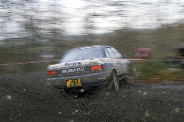 1992 World Rally Championship.Lombard RAC Rally, Great Britain. 22-25 November 1992.Ari Vatanen/Bruno Berglund (Subaru Legacy RS), 2nd position.World Copyright: LAT PhotographicRef: 35mm transparency 92RALLY17