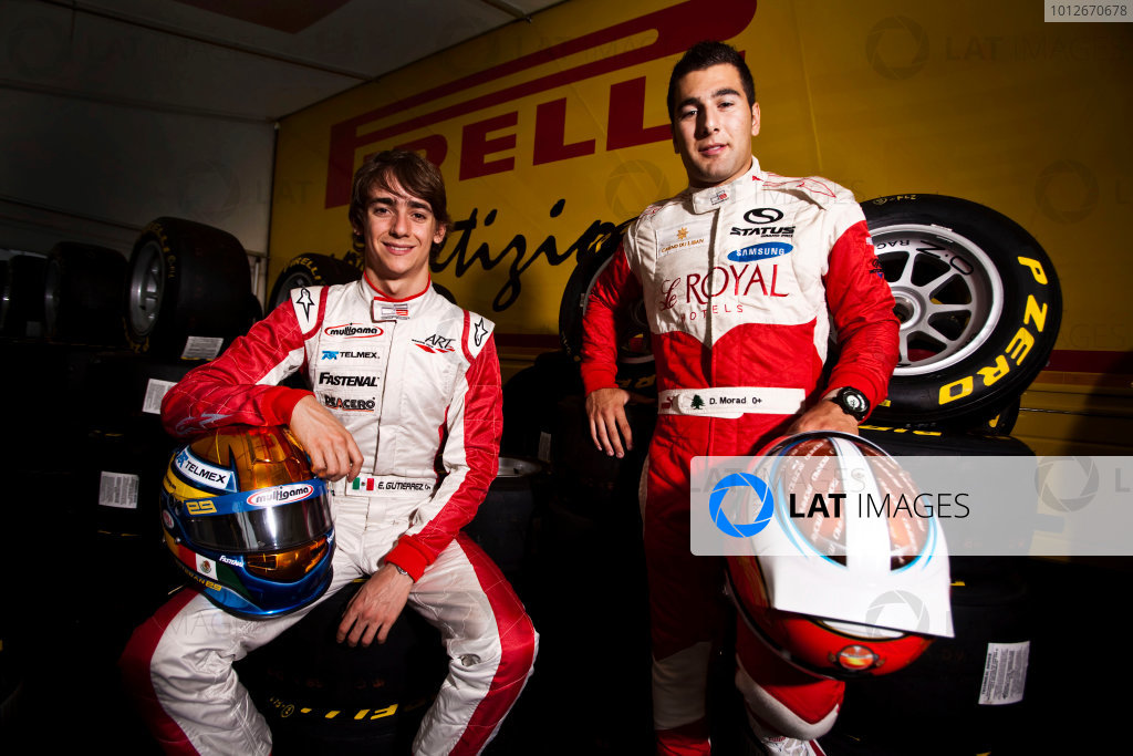 Round 5.Hockenheim, Germany. 22nd July 2010. Thursday Preview. Daniel Morad, (CAN, Status Grand Prix) and Esteban Gutierrez, (MEX, ART Grand Prix), winners of races 7 and 8 in the GP3 series at Silverstone. Portrait. World Copyright: Drew Gibson/LAT PhotographicDigital Image _Y8P1998