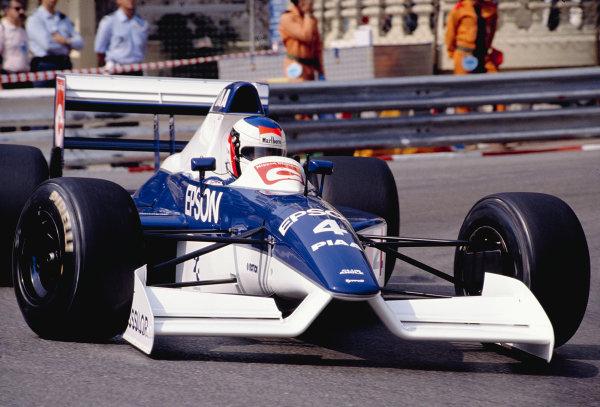 1990 Monaco Grand Prix.Monte Carlo, Monaco.24-27 May 1990.Jean Alesi (Tyrrell 019 Ford) 2nd position.Ref-90 MON 43.World Copyright - LAT Photographic