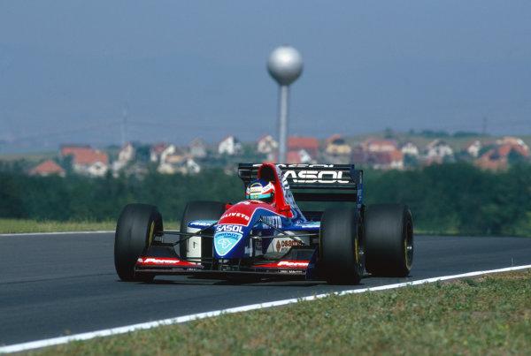 Hungaroring, Budapest, Hungary. 13th - 15th August 1993.Rubens Barrichello (Jordan 931-Hart) retired, action. World Copyright: LAT Photographic.Ref: Colour Transparency.