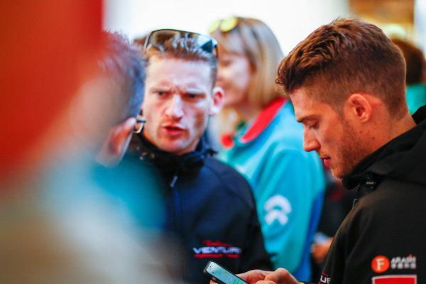 Edoardo Mortara (ITA) Venturi Formula E, Venturi VM200-FE-03, and Maro Engel (GER), Venturi Formula E, Venturi VM200-FE-03, talk to the press.