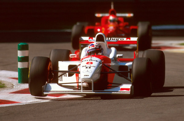 Monza, Italy.6-8 September 1996.David Coulthard (McLaren MP4/11B Mercedes) failed to finish after Villeneuve hit tyres at the second chicane, which bounced back into Coulthard's path and broke his suspension on lap 2.Ref-96 ITA 30.World Copyright - LAT Photographic