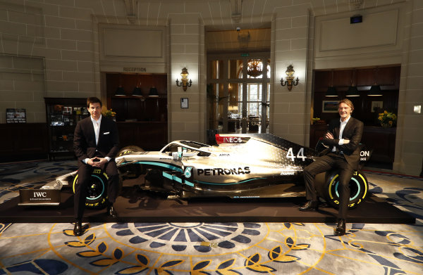Sir Jim Ratcliffe chairman and chief executive officer of the Ineos chemicals group and Toto Wolff, Executive Director (Business), Mercedes AMG reveal the 2020 F1 livery.