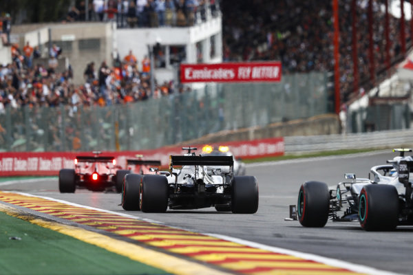 A safety car leads Charles Leclerc, Ferrari SF90, Sebastian Vettel, Ferrari SF90, Lewis Hamilton, Mercedes AMG F1 W10 and Valtteri Bottas, Mercedes AMG W10